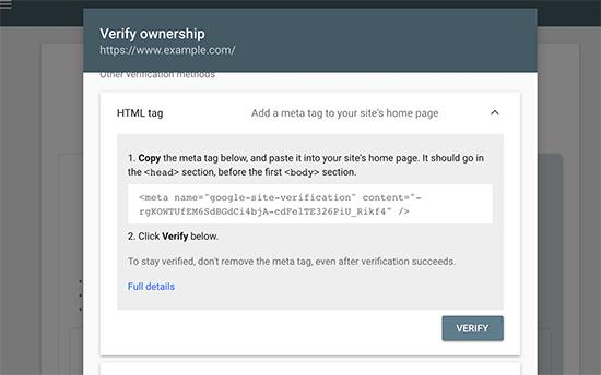 تایید هویت وبمستر با کد html