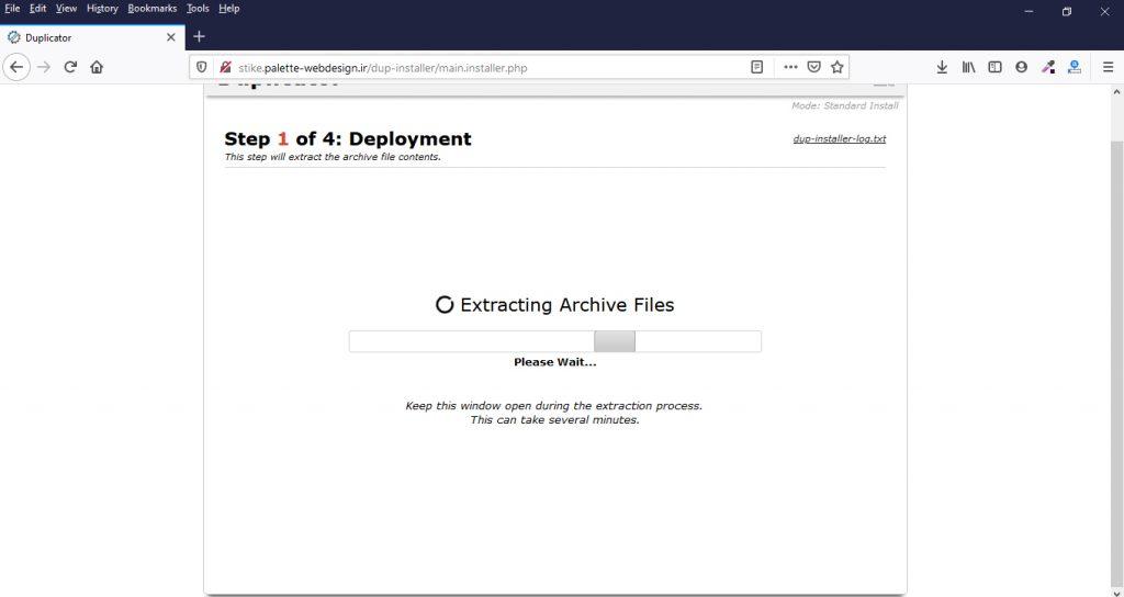 نصب سایت با بسته نصبی آسان